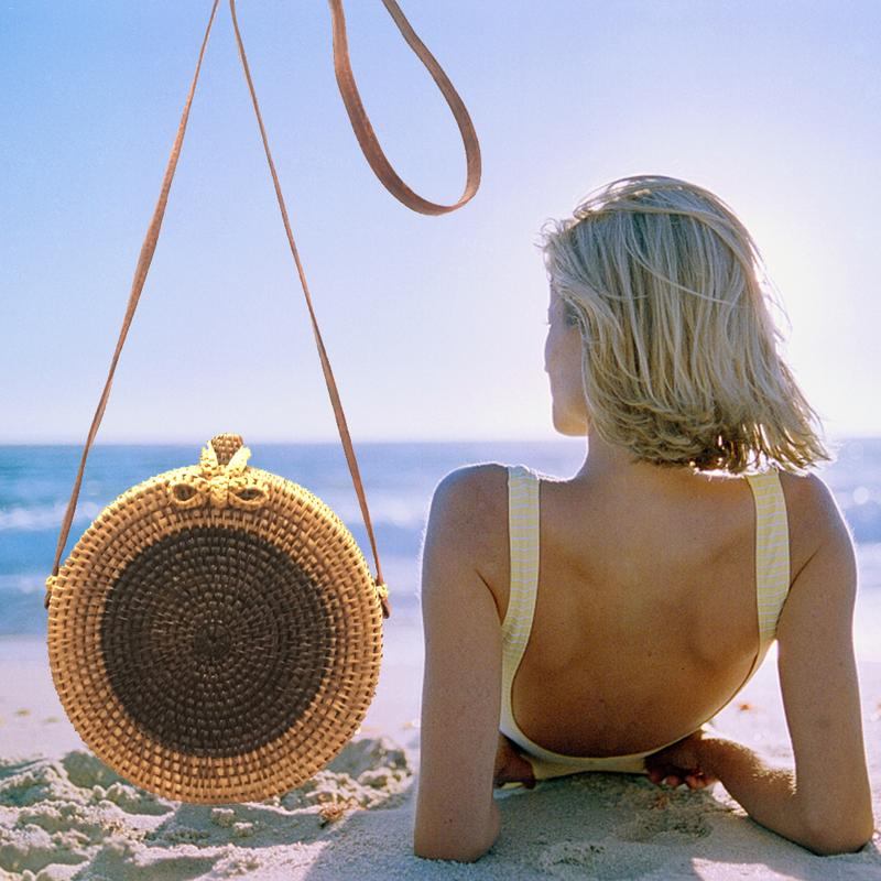 Bowknot Rattan Braided Bag Ins Style Woven Crossbody Bag Bohemian Round Single Shoulder Beach Bag
