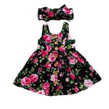 купить 2019 Summer Toddler Baby Girls Floral Dress+Hairband Button Sleeveless A Line Dresses Sundress Infant Babe Girl Vestidos Clothes по цене 151.1 рублей