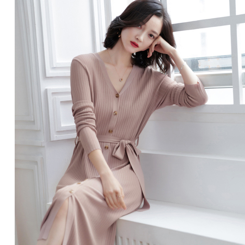 Women's Clothing Fast Deliver Spring And Autumn Ice Silk Knitting Dress Womens Fashion Solid Slimming Thin Cardigan Knitted Dress Spring Sj1460