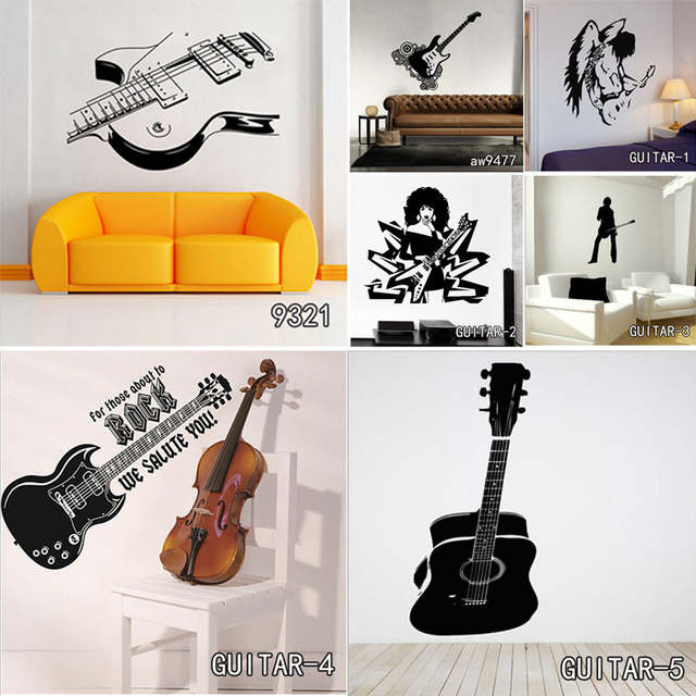 placeholder Creative Art Guitar Wall Stickers Home Decor DIY Musical Instrument Home Decorations Rock Music Wall Decals
