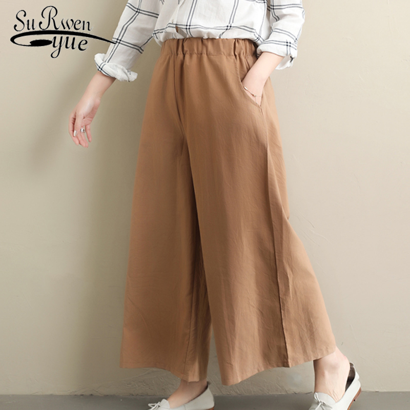 Fashion women   pants   2019 spring causal loose   Wide     leg     pants   cotton   pants   women trousers solid elastic waist flare   pants   2467 50