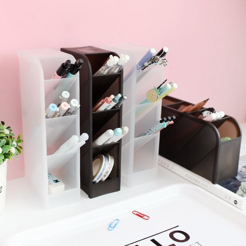 Concise Style Desktop Stationery Office Bucket Rack Transparent Pen Holder Makeup Brush Cylinder Desk Organizer