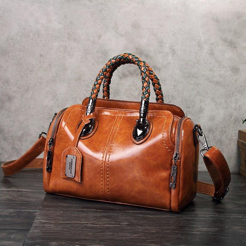 Primavera do Vintage Bolsas de Luxo Nova Couro Genuíno Bolsas Femininas Designer Bolso Mujer Marcas Famosas Tote Bolsa Ombro Senhoras Feminino