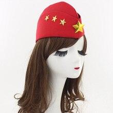 1 piezas boina lienzo creativo cuatro estrellas otoño marinero danza boinas  sombrero casquillo militar para azafata rendimiento . ea6e4f79164