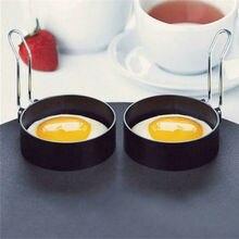 Металлические кольца для жарки яиц, модель омлета из нержавеющей стали, кольца для блинов, идеальный круг, круглая форма для жарки яиц/бракарей+ ручка с антипригарным покрытием