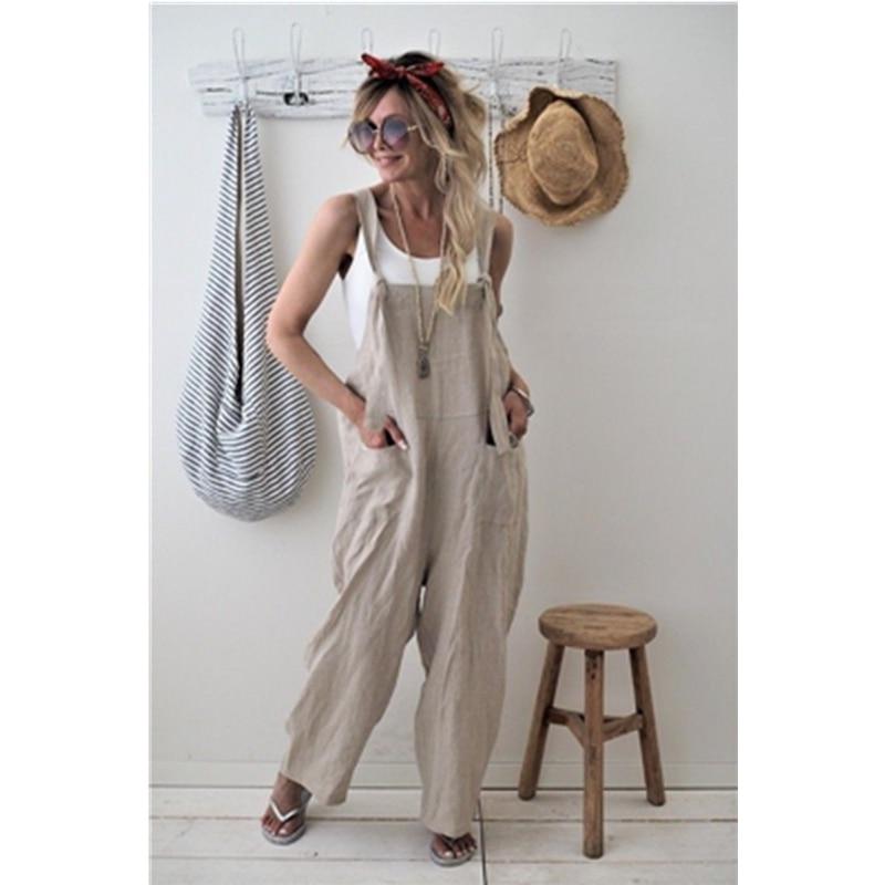 Women Casual Loose Cotton Linen Overalls   Wide     Leg     Pants   Autumn Spring Ladies Solid Fashion   Wide     Leg     Pants   Trousers