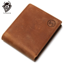 Free Shipping Hot Sale Mens Genuine Crazy Horse Leather Small Wallet Pocketbook Purse Low Price