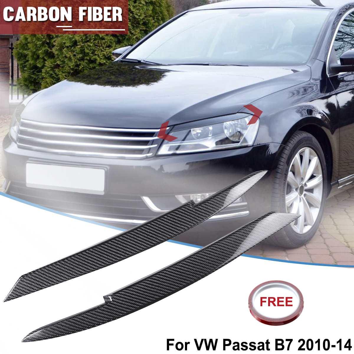 1 paire 3D vraie Fiber de carbone phare paupières sourcils revêtement d'habillage autocollant pour VW Passat B7 2010-2014