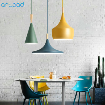 Artpad Modern Nordic Iron Pendant Lights Lampshade E27 Ceiling Hanging Lamp Dining Room Hotel Bedroom Kitchen Lighting Fixtures artpad nordic multi color ceiling pendant lamp two three heads e27 metal lamp shade led dining room modern pendant light fixture