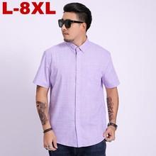 Plus Size Summer New Mens Shirt Fashion Casual Slim Short Sleeve Brand  Large Clothes 6xl 7xl 8xl