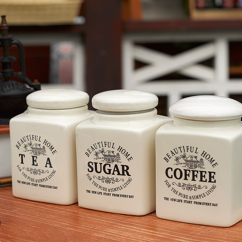 Brief Beautiful Home Ceramic Tea Coffee Sugar Sealed Jars And Lid 3 Pcs Set Cafe Food Container Canister With Cover Storage Vial