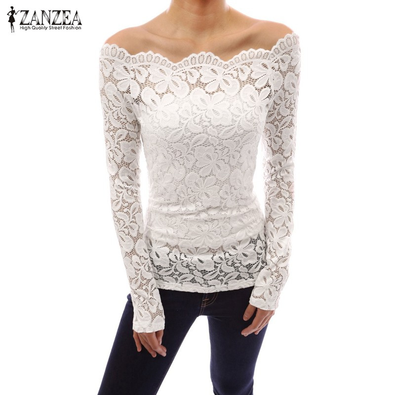 ZANZEA női felsők 2018 őszi szexi blusas ki vállszalag nyak csipke egyszínű ing hosszú ujjú vékony alkalmi blúzok plusz méret