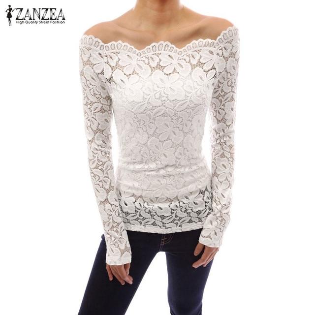 bf6169a6824 ZANZEA Women Tops 2018 Autumn Sexy Blusas Off Shoulder Slash Neck Lace  Solid Shirts Long Sleeve Slim Casual Blouses Plus Size