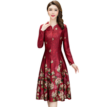 Spring Summer Fashion Middle-aged Women Floral Print Dress Plus Size Mother Clothing Casual V-neck Long Sleeve Dresses Vestidos