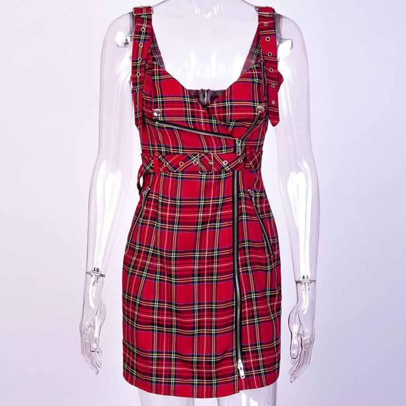 Для женщин Мини платья Повседневное пикантные Клубные панк готический черный Лето Bodycon Высокая талия молния плед кнопка без бретелек женское красн