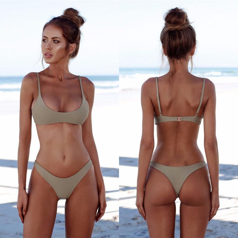 Summer Women Solid Bikini Set Push-up UnPadded Bra Swimsuit Swimwear Triangle Bather Suit Swimming Suit biquini