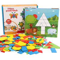 Children Geometry Tangram/Jigsaw Board Jigsaw Puzzle Pupil Wooden Toys Male Girl Enlightenment Intelligence 3 4 5 6 Year