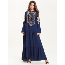 Vintage Women Muslim Dress Navy Blue Flare Sleeve Embroidery Dress Loose Ethnic Patchwork Maxi Dresses