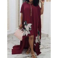 Women Plus Size Long Dress Retro Floral Print Chiffon Robe Ladies Summer Loose Simple Casual Stylish Party Elegant Maxi Dresses