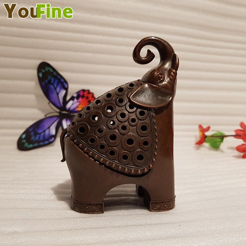 Antique Chinese Elephant Incense Burner Beautiful Retro Casting Bronze Various Shapes Decoration