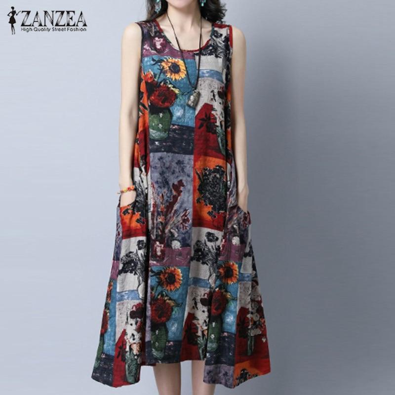 ZANZEA Women Dress Fashion Vintage Print Dresses Sexy Sleeveless Casual Loose Pockets O Neck Mid-calf Vestidos Plus Size