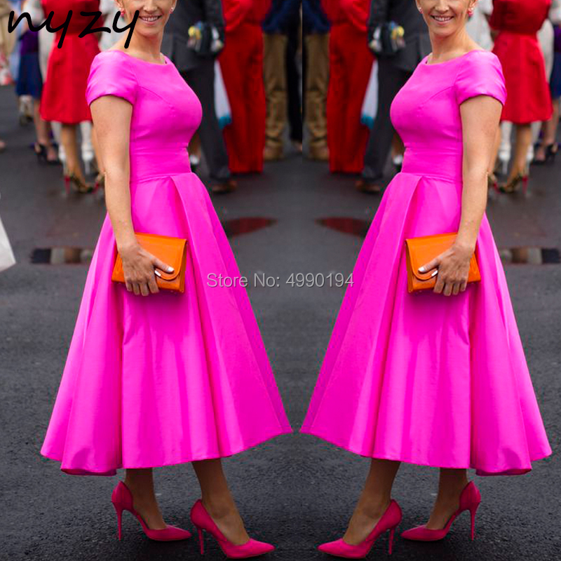 NYZY M116 Vintage Elegant Mother of the Bride Dresses Tea Length Fuchsia Satin Wedding Party Dress Guest Wear Church