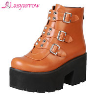 Lasyarrow Fashion Ankle Boots For Women Platform Shoes Punk Gothic Style Rivet Stud Buckle Black Spring Autumn Chunky Boot Woman