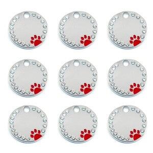 Image 5 - 100 Pcs del commercio allingrosso di Strass Carino Cerchio Zampa Inciso ID Dog Tag In Acciaio Inox FAI DA TE Dog id Tag Pet Shop Per cane Personalizzati