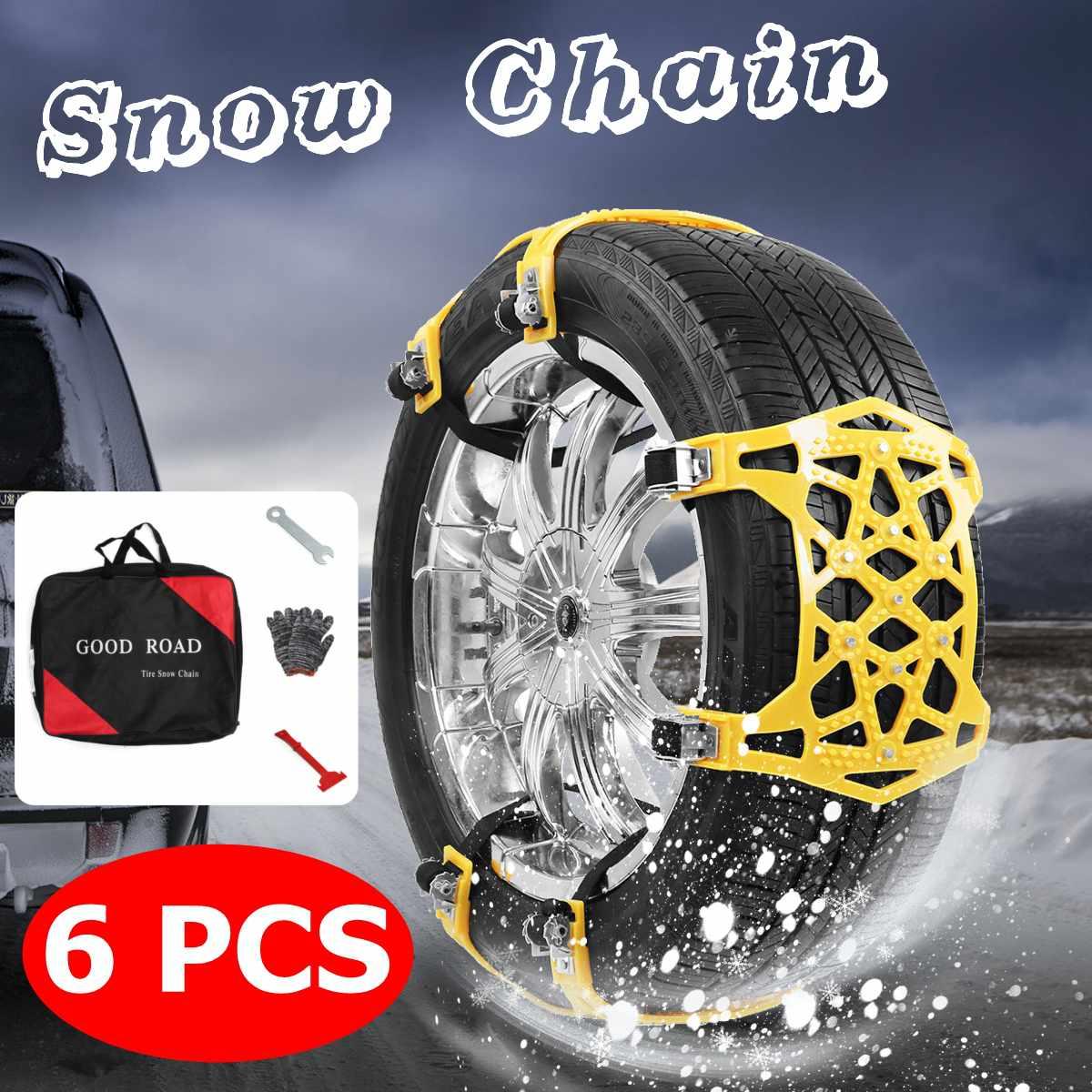 6 pièces épaissir anti-dérapant TPU neige chaînes universel voiture costume pneu général Automobile pneu pour SUV hors route sécurité chaînes neige boue