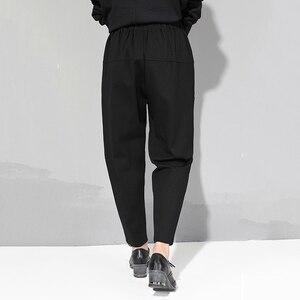 Image 3 - Женские брюки с высокой эластичной талией EAM, черные свободные брюки комбинированного кроя, весна осень 2020