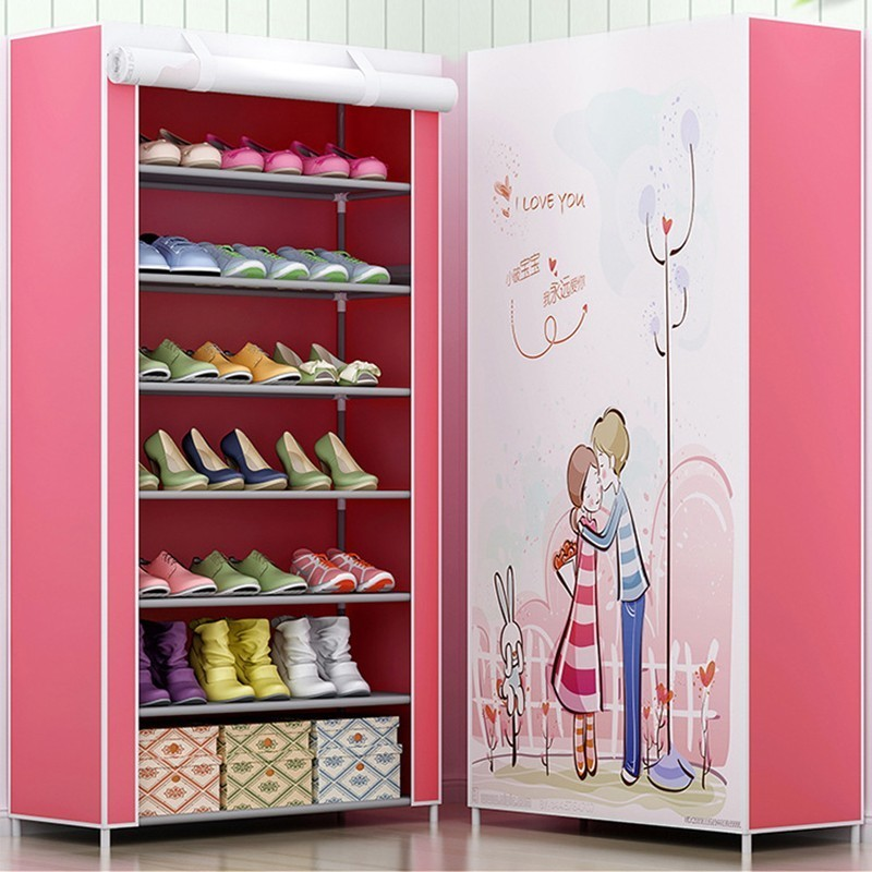 Multi-layer Dust-proof Metal Non-woven Shoe Organizer For Closet Minimalist Modern Storage Shoe Cabinet Assembly Home FurnitureMulti-layer Dust-proof Metal Non-woven Shoe Organizer For Closet Minimalist Modern Storage Shoe Cabinet Assembly Home Furniture