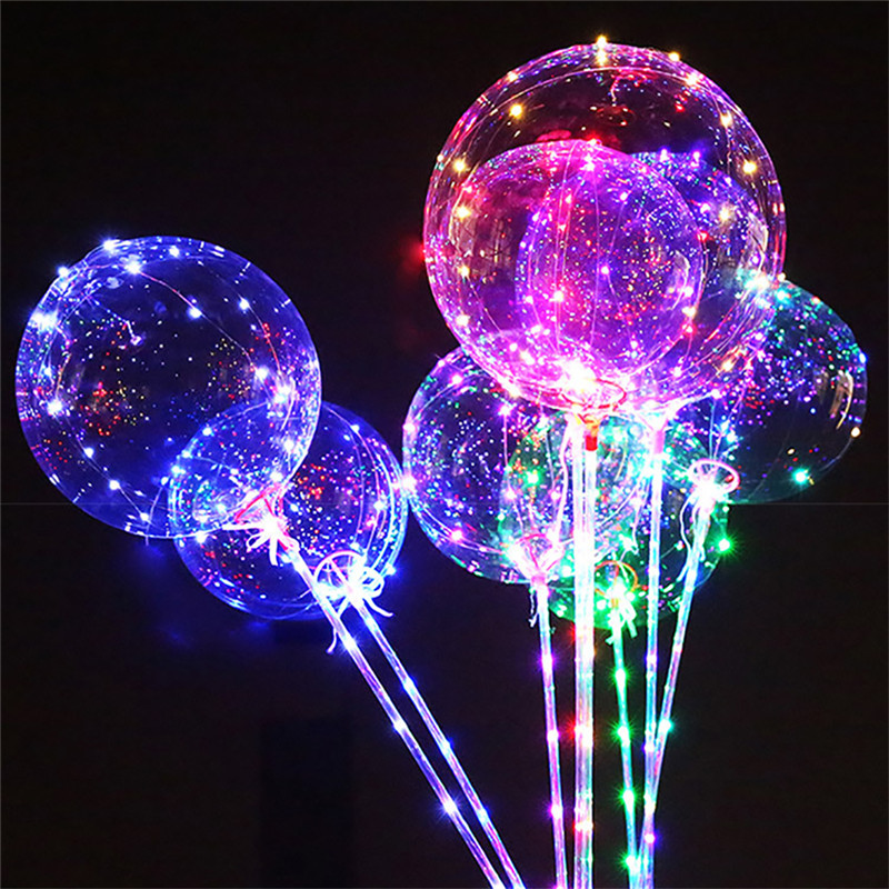 2pcs Balloons Party Decoration Accessories Transparent Wave Glowing Color Air Lantern Balloon Stars Light Wave Balls Toys Child