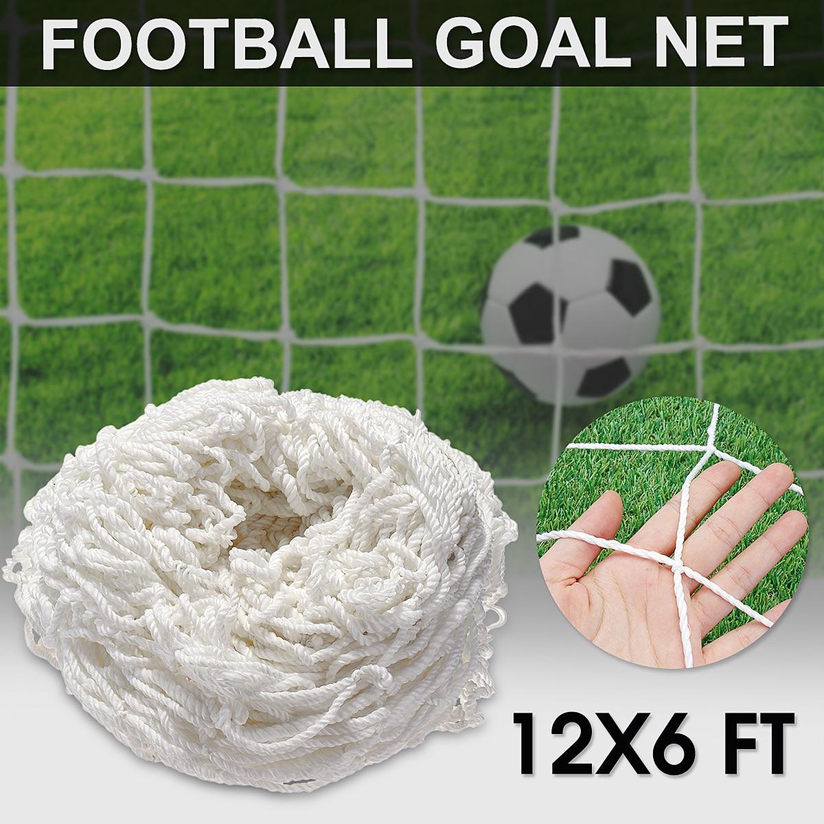 12x6FT Full Size di Calcio di Calcio Goal Post Net Per Gli Sport All'aria Aperta Partita di Formazione Ad Alto Impatto Annodato Doppio In Polipropilene Bianco