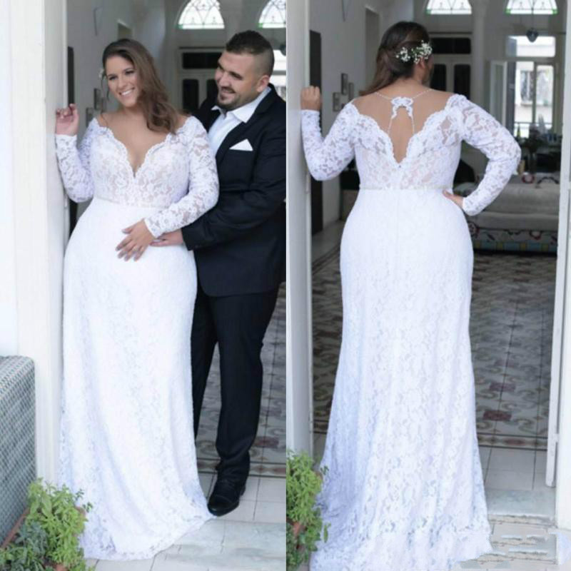 Retro Lace Plus Size Wedding Dresses 2019 Sheer V Neck