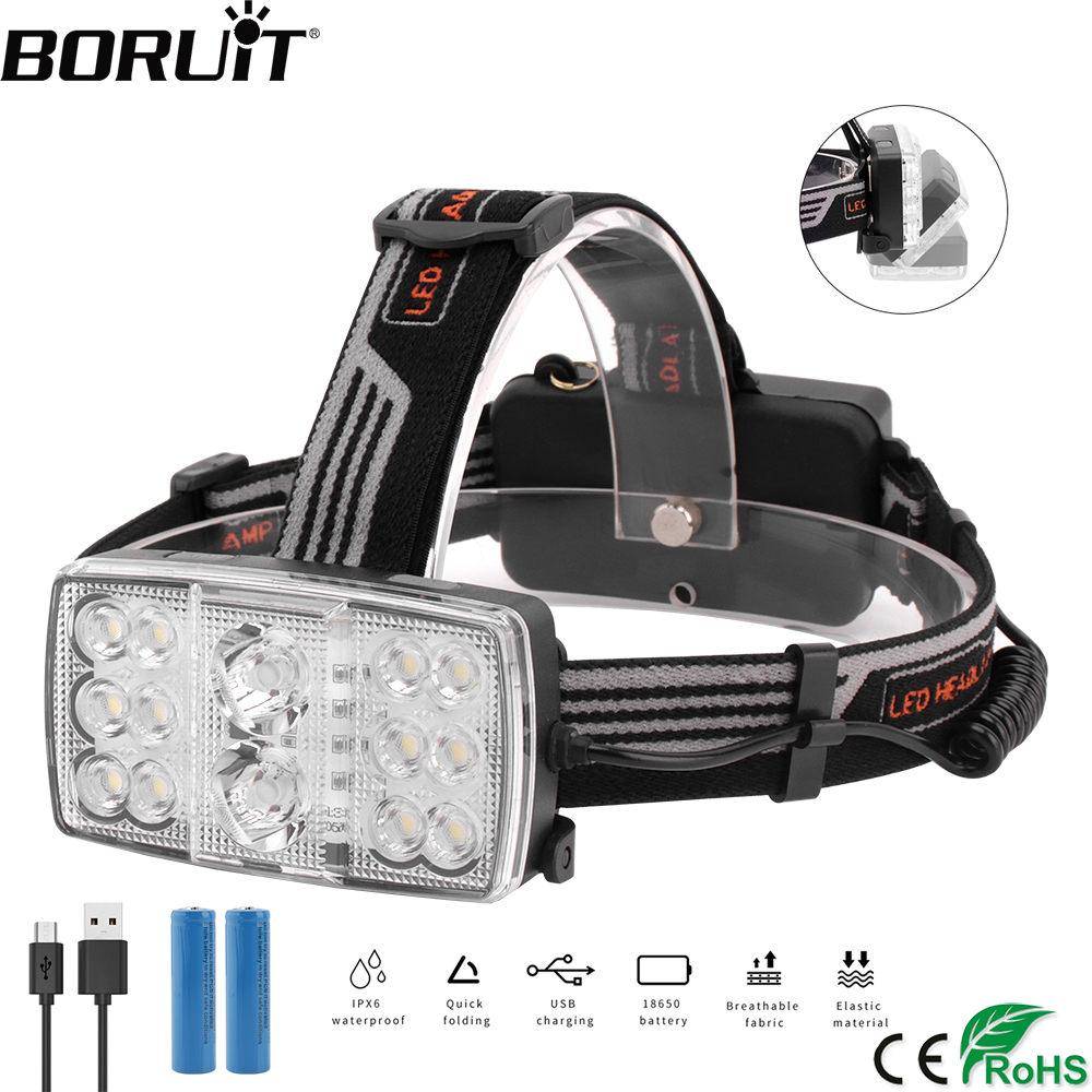 BORUiT XPE+13*COB LED Headlamp Rechargeable 11-Mode Headlight 15000Lumen Head Torch Hunting Fishing Flashlight 18650 Battery
