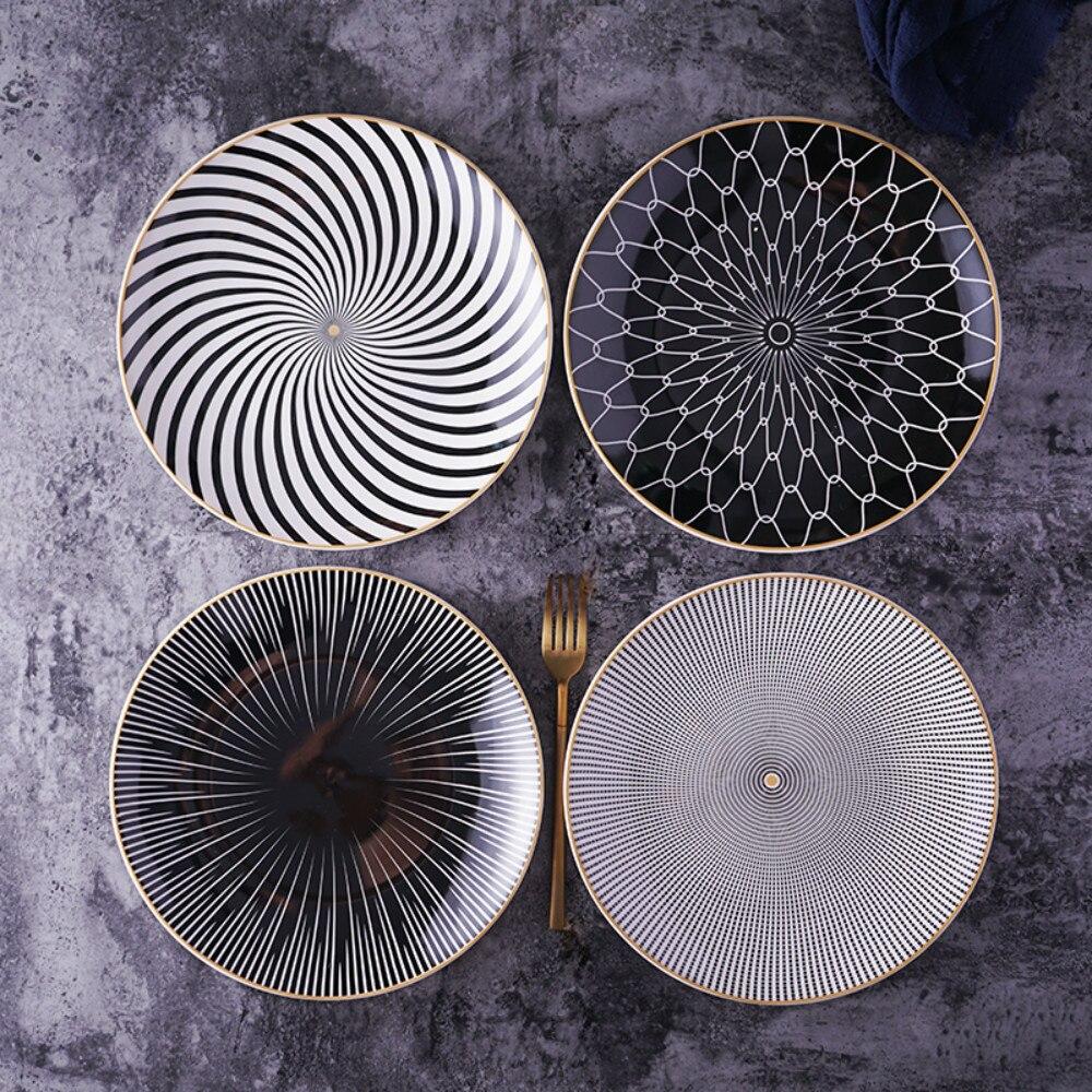Tableware Dessert-Dinnerware-Set Porcelain Course-Plates Geometry Salver Cake-Ceramica