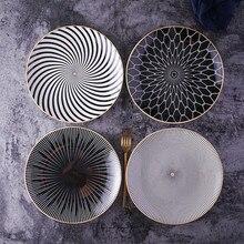 Nordic New 8 Or 10 Inch Main Course Plates Geometry Tableware Dinner Dish Porcelain Dessert Dinnerware Set Cake Ceramica Salver
