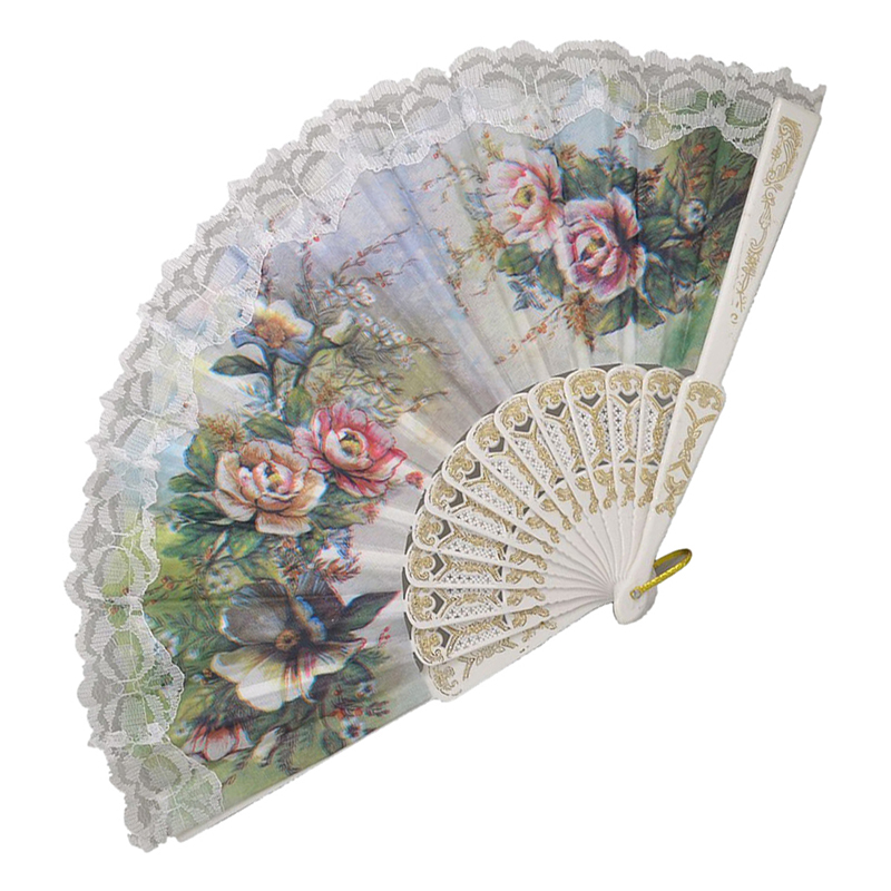 Hot Sale Hollow Out Rib Peony Print Lace Trim Folding Fabric Hand Fan Colored in Decorative Fans from Home Garden
