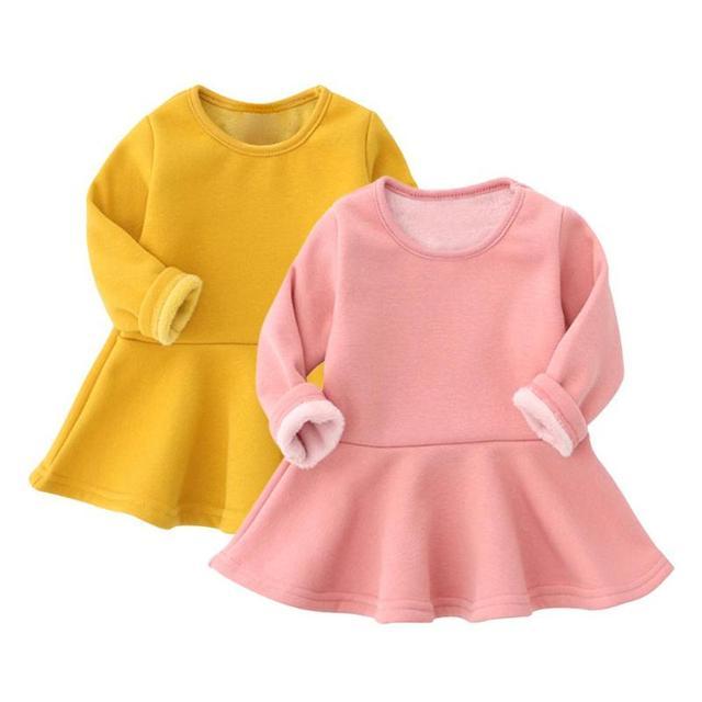 0ba3311be € 6.94 30% de DESCUENTO|Invierno cálido bebé de lana vestido de las niñas  de Color sólido, ropa de cuello redondo de manga larga chico vestidos ...