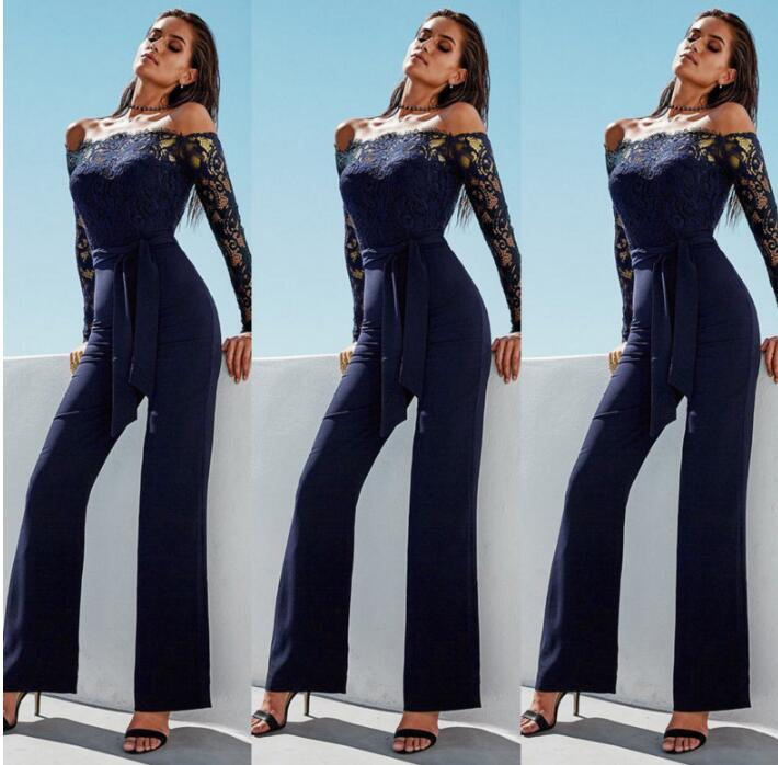 New Fashion Women Sexy Jumpsuit Long Sleeve Jumpsuit Hoodies Romper Long Trousers Lace Decoration 3 Colors