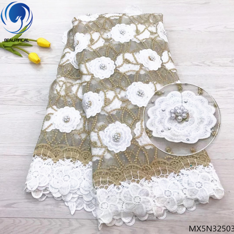 Beautifical latest african laces 2018 guipure lace fabric french lace fabric white color with lot beads for dresses MX5N325Beautifical latest african laces 2018 guipure lace fabric french lace fabric white color with lot beads for dresses MX5N325