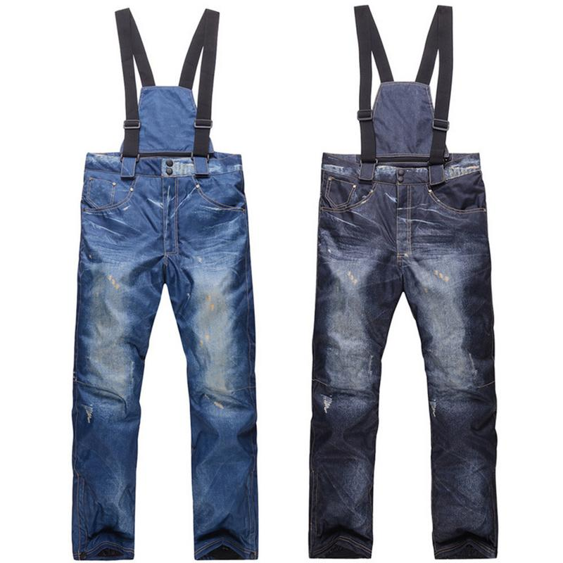Hiver Denim bretelles pantalon de Ski Snowboard Ski pantalon coupe-vent imperméable neige pantalon chaud épaissi pantalon pour hommes pantalon
