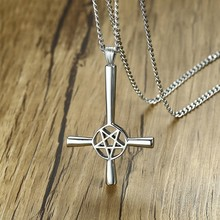Inverted Cross Pentagram Star Pendant Necklace for Men Stainless Steel Lucifer Satan Male Jewelry with 24 inch