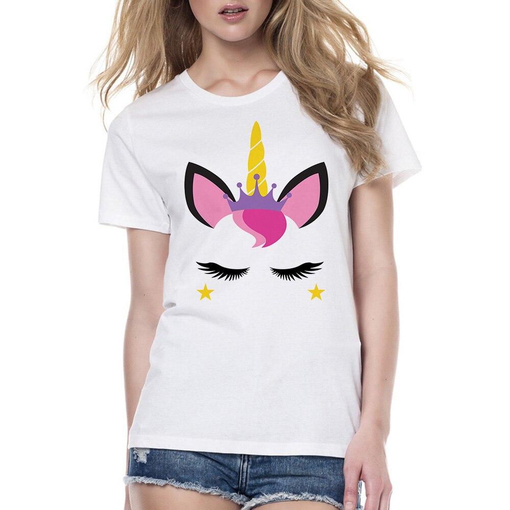 gran selección de estilo actualizado precios de liquidación € 4.05 30% de DESCUENTO|Nueva camiseta Unicornio para mujer 2018 Kawaii  verano Mujer linda chica camiseta Unicornio ropa divertida blanco Harajuku  ...