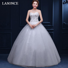 LASONCE Crystal Strapless Lace Appliques Ball Gown Wedding Dresses Sequined Off The Shoulder Backless Bridal Dress