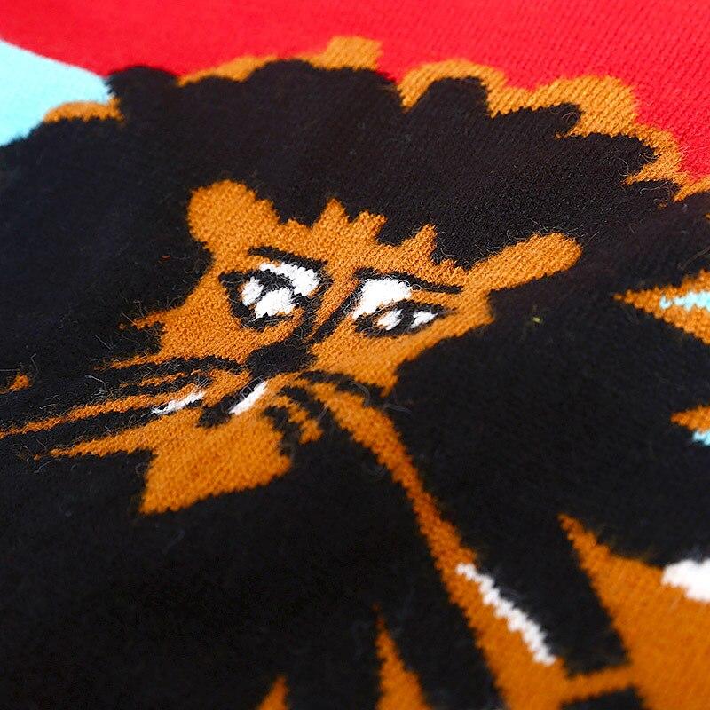 2019 Coloré Tricots Dessinée Rayé De O Pulls Femmes Manches Printemps Nouveau Striped Bande Longues Sweater Cavalier Chandails À Jacquard Cou Décontracté rxrdnIfq
