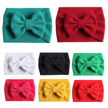 Para niñas 2019 nuevos accesorios para el cabello elásticos turbante Popular Big Bowknot DIY Headwrap 1PC niños texturizado tela diadema banda para el pelo(China)