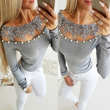 68225c03d0d Women Lace Floral Beading Blouses Sexy Off Shoulder Long Sleeve Tops Tunic  2019 Fashion Ladies Gray