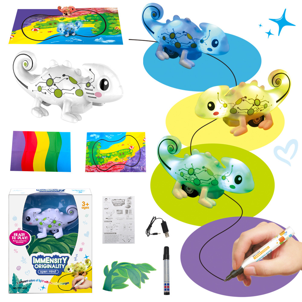 New Children's Toys, Dash, Induction Chameleon, Car, Toy, Line, Automatic, Road, Color, Music