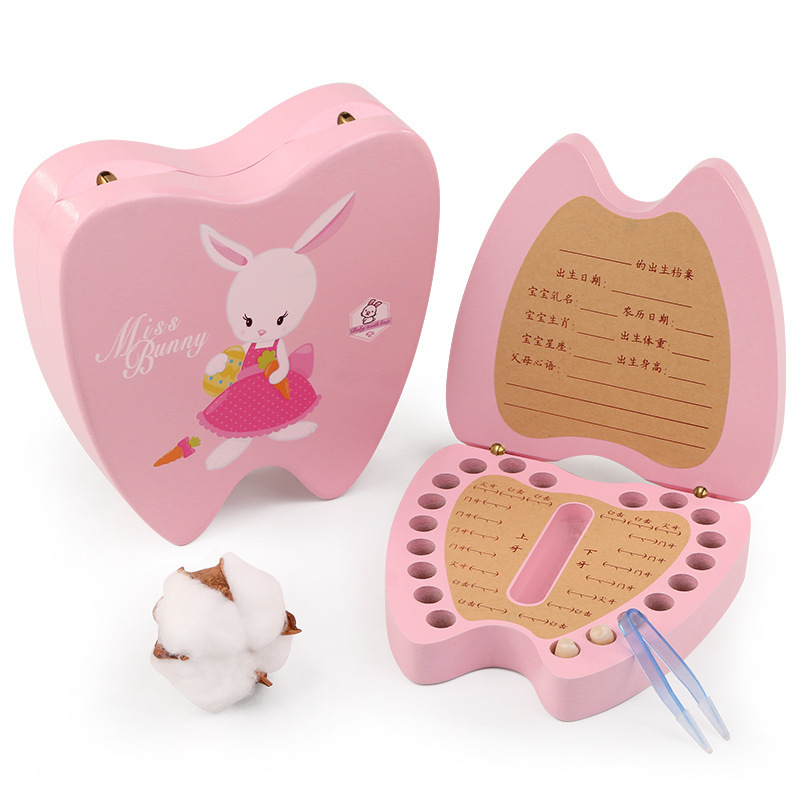 Kids Tooth House Children Girl Boy Collection Box Wooden Baby Teeth Change Deciduous Anniversary